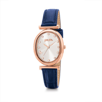 Wonderfly Oval Case Leather Watch, Dark Blue, hires