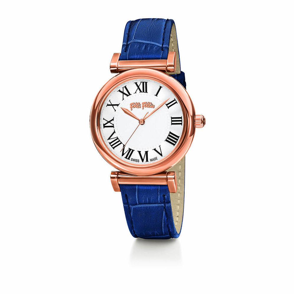 Obsession Swiss Made Δερμάτινο Ρολόι, Blue, hires