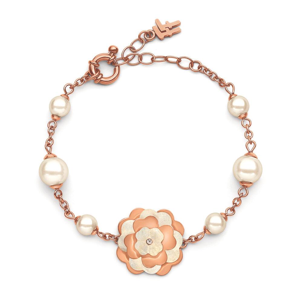 Santorini Flower Rose Gold Plated Φίλντιση and Λευκή Πέρλα Βραχιόλι, , hires