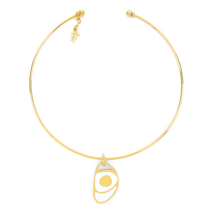 FF Talisman Yellow Gold Plated With Enamel Collar Necklace , , hires