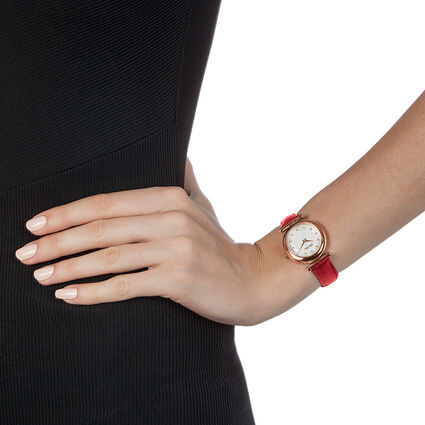 Sparkle Chic Swiss Made Μικρή Κάσα Δερμάτινο Ρολόι, Red, hires