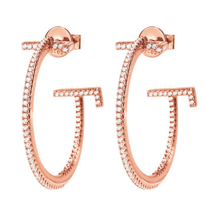 My FF Rose Gold Plated Small Hoop Earrings, , hires