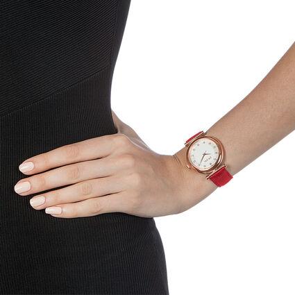 Sparkle Chic Swiss Made Μεγάλη Κάσα Δερμάτινο Ρολόι, Red, hires