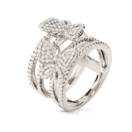Wonderfly Rhodium Plated Wide Ring, , hires