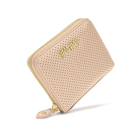 On The Dot Small Continental Leather Wallet, Beige, hires