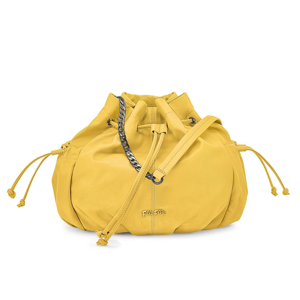 Buggy Large Leather Bucket Shoulder Bag, Yellow, hires