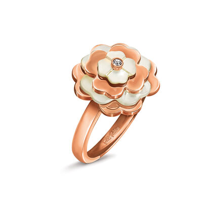 Santorini Flower Rose Gold Plated Mother Of Pearl Small Motif Ring, , hires