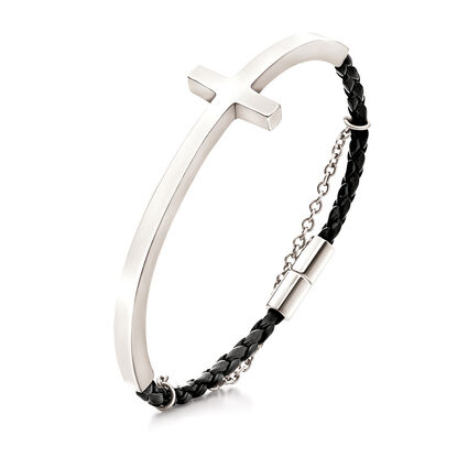 Carma Silver Plated Cross Black Leather Bracelet, , hires