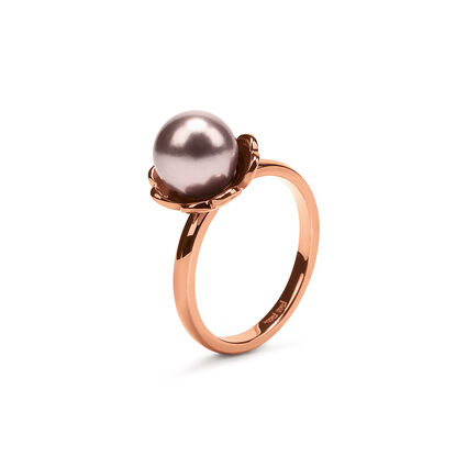 Grace Flair Rose Gold Plated Small Dirty Pink Pearl Ring, , hires