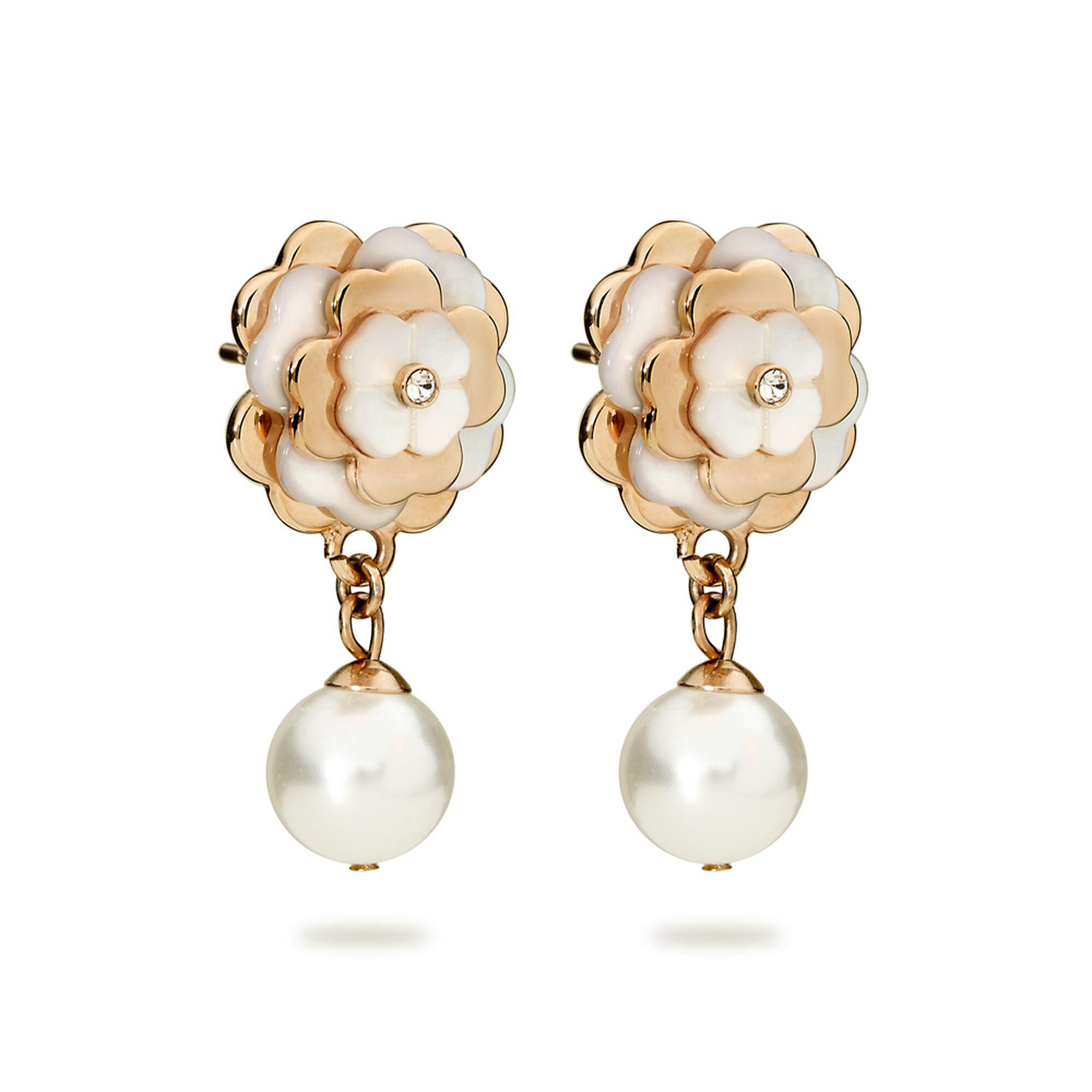 Santorini Flower Rose Gold Plated Mother Of Pearl Short Earrings, , Hires