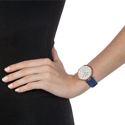 Lady Club Μεγάλη Κάσα Δερμάτινο Ρολόι, Dark Blue, hires