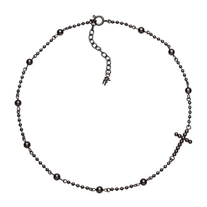 Carma Beads Short Black Plated Necklace, , hires