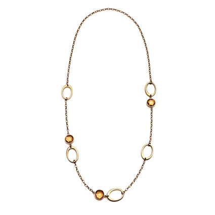 Classy Element Rose Gold PlatedChampaign Crystal Stone Long Necklace, , hires
