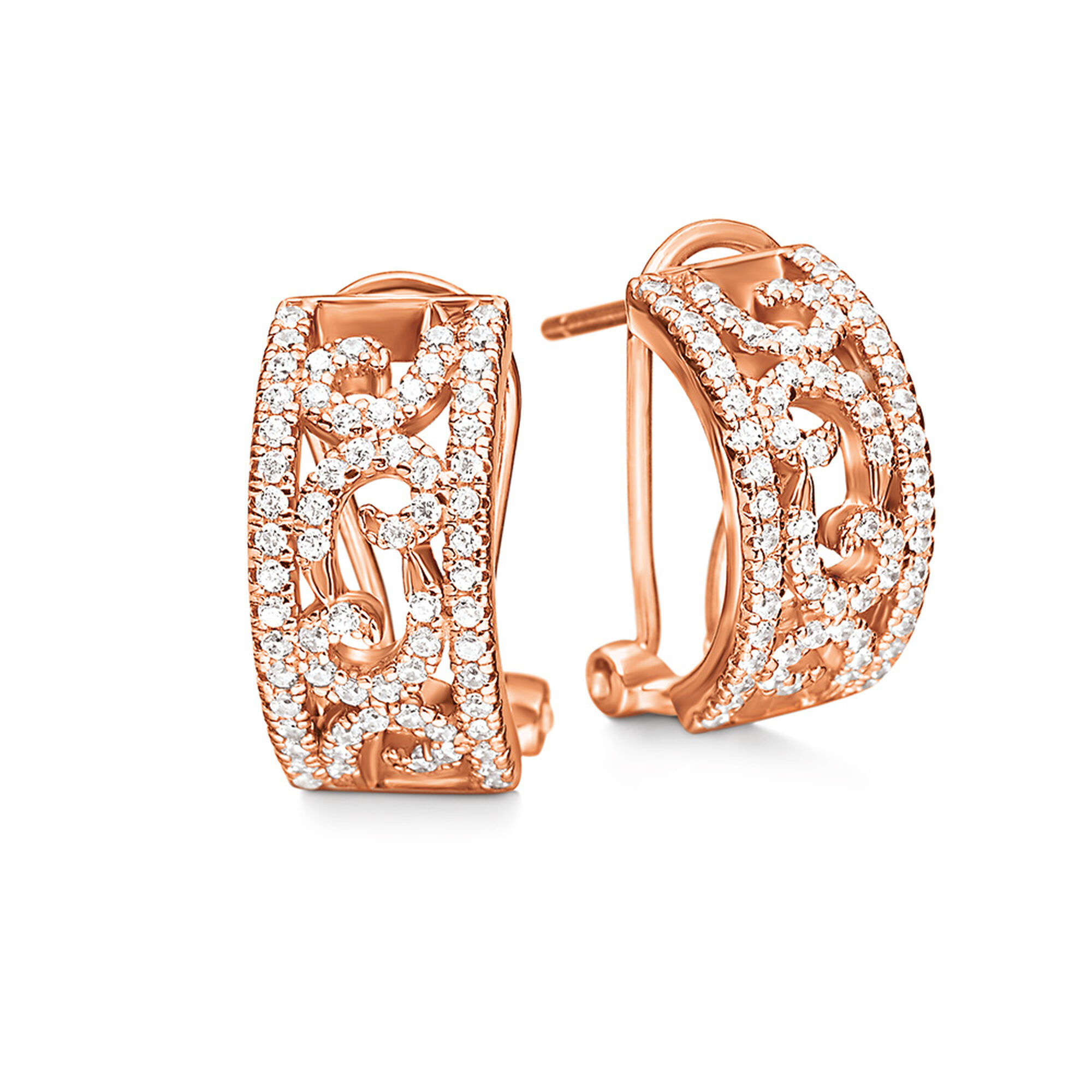 Fashionably Silver Temptation Rose Gold Plated Stone Earrings Hires