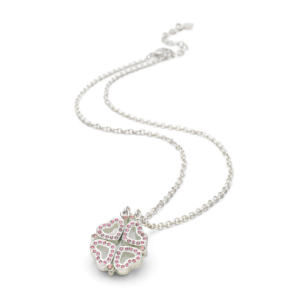Heart4Heart Silver Plated Two Ways Worn Pink Crystal Stone Short Necklace, , hires