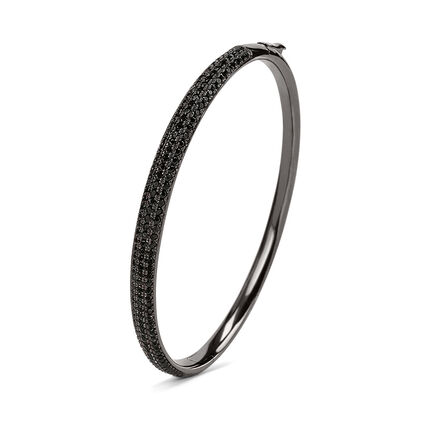 Fashionably Silver Essentials Black Rhodium Plated Bangle Bracelet, , hires
