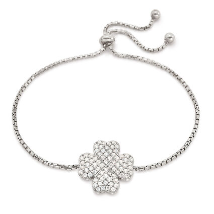 Heart4Heart Rhodium Plated Adjustable Bracelet, , hires