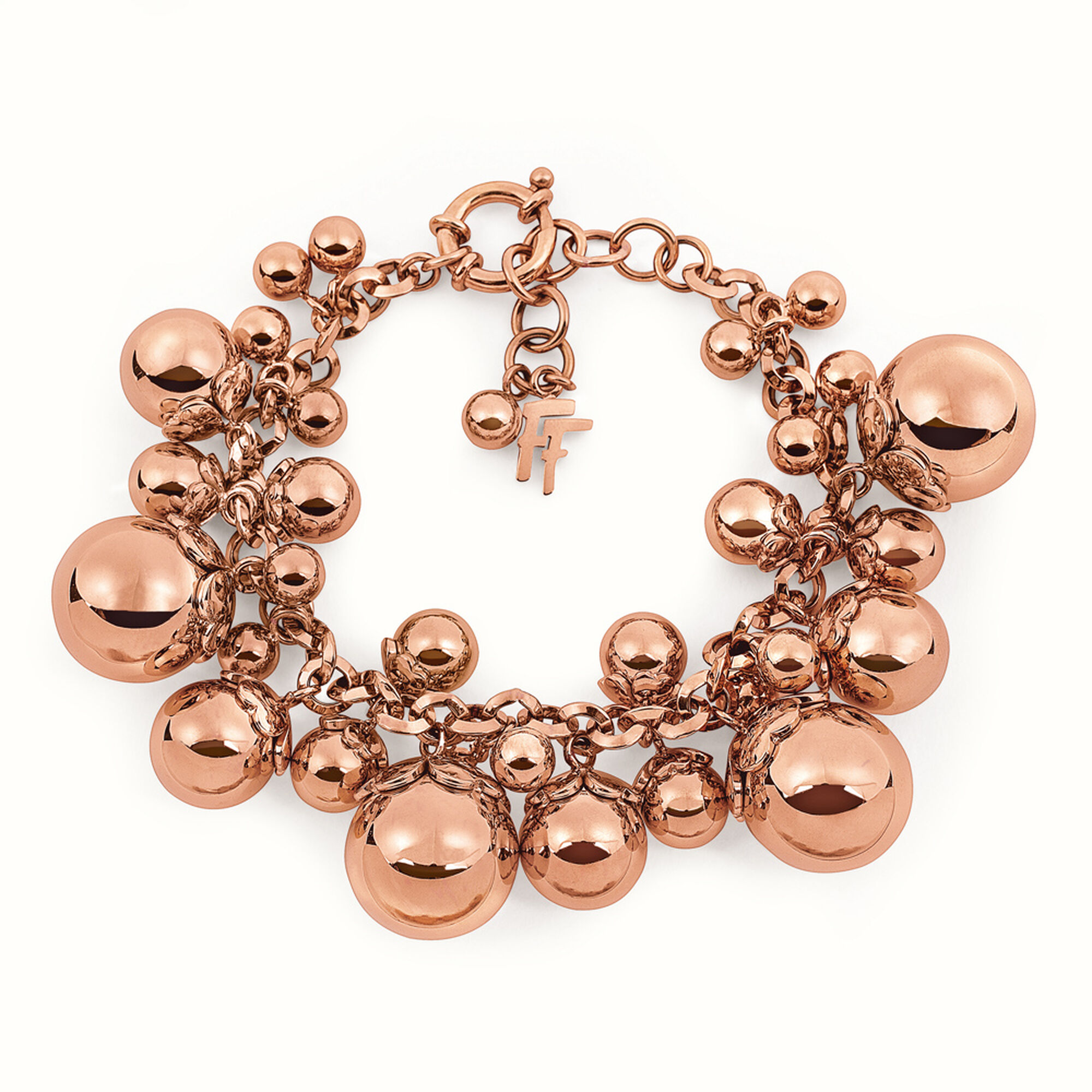 cm gold rose plated bubble hires follie bracelet en folli lady