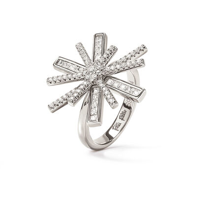 Star Flower Rhodium Plated Ring, , hires