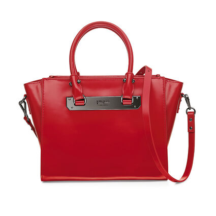 Style Code Detachable Long Strap Leather Handbag, Red, hires