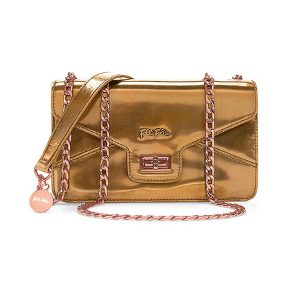 Metallic Love Detachable Chain Strap Shoulder Bag, Gold, hires