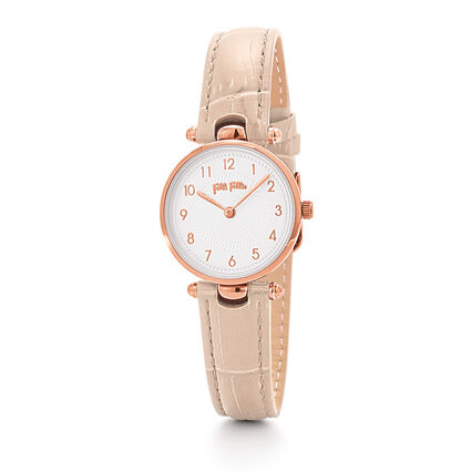 Lady Club Small Case Leather Watch, Pink, hires