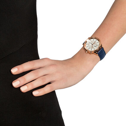 Big Moments Big Case Leather Watch , Blue, hires