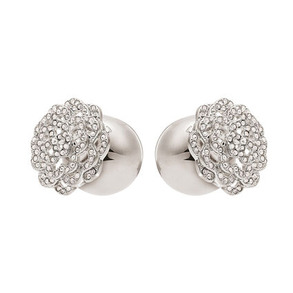 Santorini Flower Silver Plated Large Ball Pave Clear Crystal Stone Stud Earrings, , hires