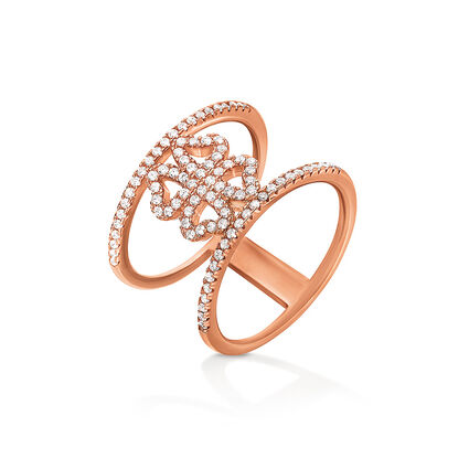 Fashionably Silver Heart4Heart Rose Gold Plated Δαχτυλίδι, , hires