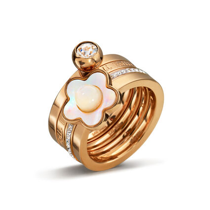 Fiori Chic Rose Gold Platted Mother Of Pearl Set Ring, , hires