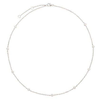 The Essentials Rhodium Plated Short Necklace , , hires