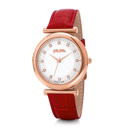 Sparkle Chic Big Case Leather Watch, Red, hires
