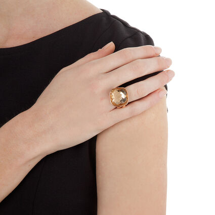 Apeiron Rose Gold Plated Champaign Crystal Stone Ring, , hires