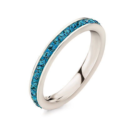 Match & Dazzle Silver Plated Blue Crystal Stone Slim Band Ring, , hires