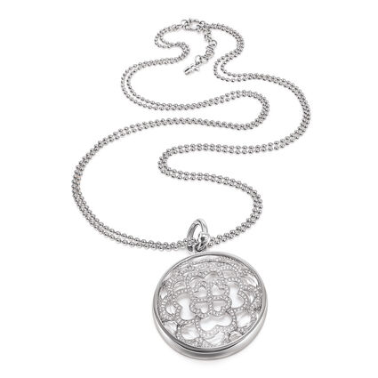 Santorini Flower Silver Plated Long Necklace, , hires