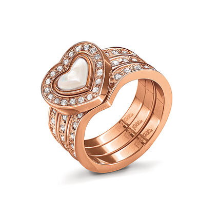 Playful Hearts Rose Gold Plated Mother Of Pearl & Clear Crystal Stone Set Ring, , hires