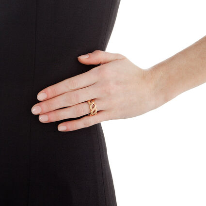 Apeiron Rose Gold Plated Wide Plait Band Ring, , hires