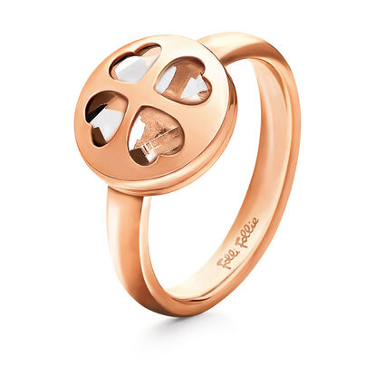 Heart Heart Win Rose Gold Plated Clear Crystal Stone Ring, , hires