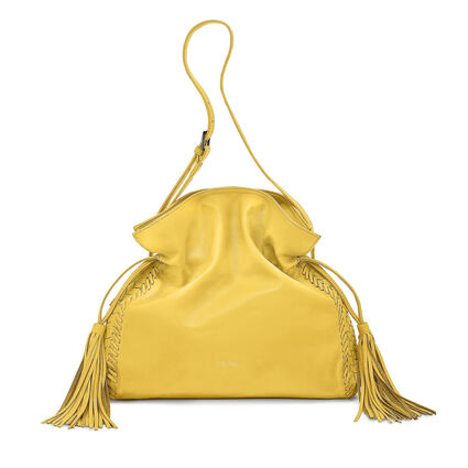 Twist Together Leather Shoulder Bag, Yellow, hires
