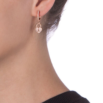 Charm Mates Rose Gold Plated Earrings, , hires
