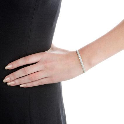 Fashionably Silver Essentials Rhodium Plated Σταθερό Βραχιόλι, , hires