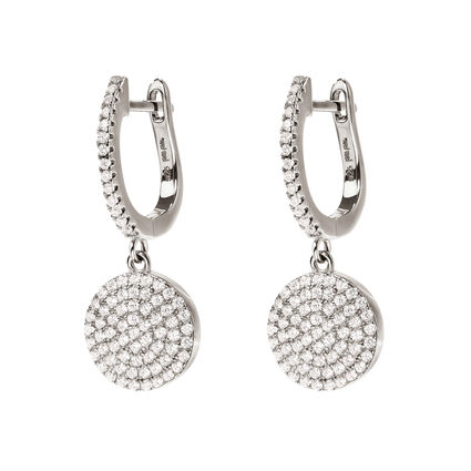 Discus Rhodium Plated Short Earrings , , hires