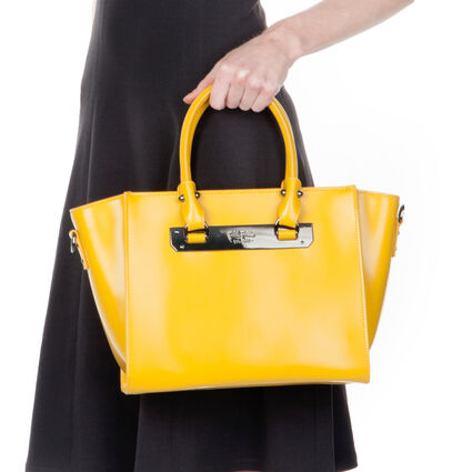 Style Code Detachable Long Strap Leather Handbag, Yellow, hires