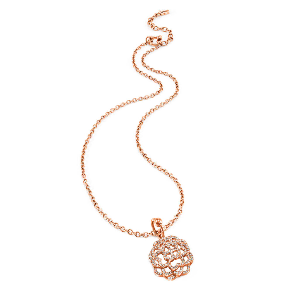 Santorini Flower Rose Gold Plated Clear Crystal Stone Short Necklace, , hires
