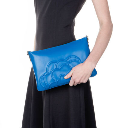 Santorini Flower Detachable Strap Leather Evening Bag, Blue, hires