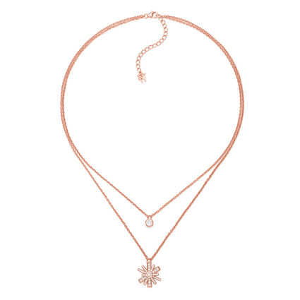 Star Flower Rose Gold Plated Small Motif Short Necklace, , hires