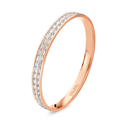 Classy Rose Gold Plated Clear Square Crystal Stone Large Diameter Bangle Bracelet, , hires