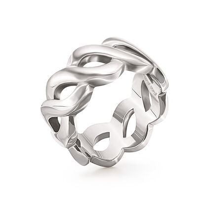 Apeiron Silver Plated Wide Plait Band Ring, , hires