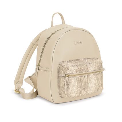 On The Go Snake External Pocket Backpack, Beige, hires