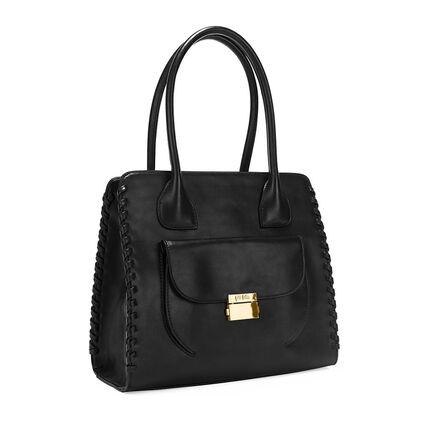 Fashion Braid Tote Shoulder Bag, Black, hires